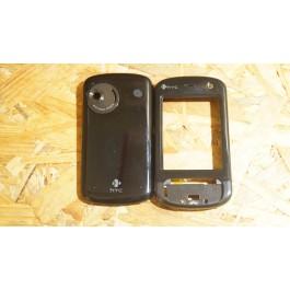Capa Frontal & Tampa de Bateria Preta HTC P3600