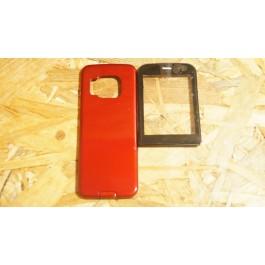 Capa Lente Preta & Tampa de Bateria Vermelha Nokia N78 Compativel