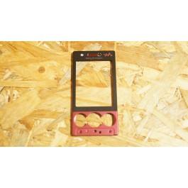 Capa Frontal S/ Teclado Preto/Vermelho Sony Ericsson W715