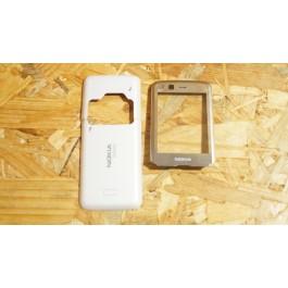 Capa Suporte de VGA & Lente Cinza & Tampa de Bateria Branca Nokia N82
